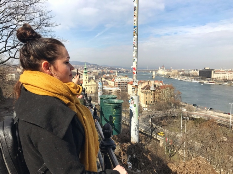girl with a yellow scarf and budapest