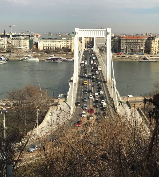 budapest and bridge full of cars